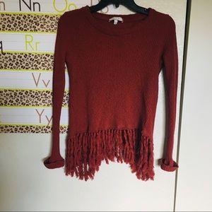 eri and ali sweater shirt fringe burnt orange